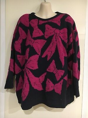 Vintage Retro Fun Knitz 80's 1980's Ugly Pink Bow Knit Jumper Size L