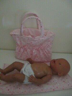 """Dolls Nappy Bag & Change pad, """"Pink with Stars """""""