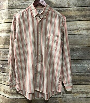 c68f7a2bc3 LACOSTE BUTTON DOWN Shirt Mens Size 40 Large L/S Orange Red White Taupe  Striped