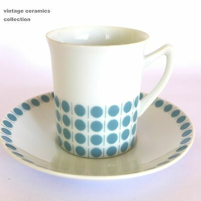 VINTAGE 1960s WESTMINSTER FINE CHINA AUSTRALIAN POTTERY POLKA DOT CUP SAUCER DUO