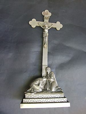 ANTIQUE CATHOLIC ALTAR CRUCIFIX ON THE STAND JESUS VIRGIN MARY  C.1880's RARE