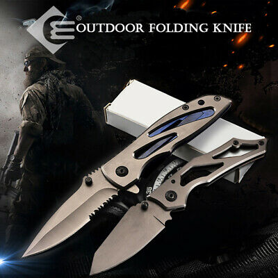 Outdoor Tactical Survival Folding Pocket Knife Camping Hunting Straight Knife