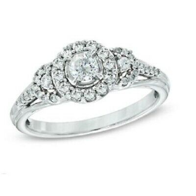 1.20 Ct Round Cut D/VVS1 Diamond 14k White Gold Halo Engagement Wedding Ring
