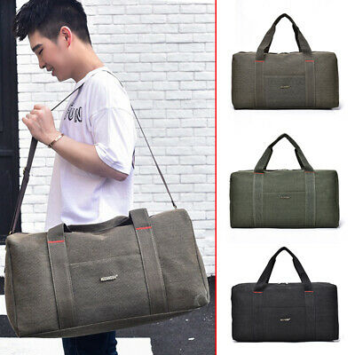 Men's Canvas Luggage Bag Sports Duffle Bag Travel Training Gym Storage Handbag