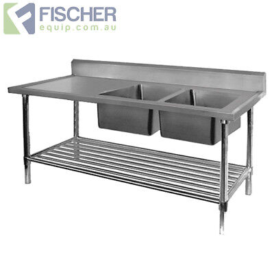 BRAND NEW Stainless Steel Right Double Sink Bench 2400mm - Pipe Undershelf
