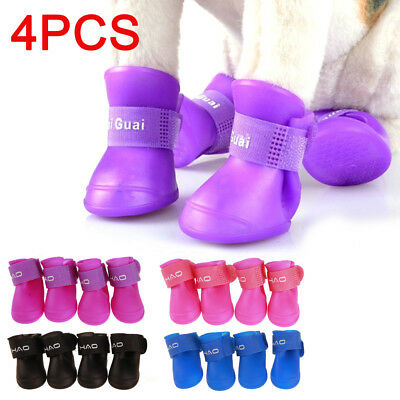 4Pcs Dog Cat Puppy Rain Boots Booties PVC Shoes Waterproof Protective S/M/L UK
