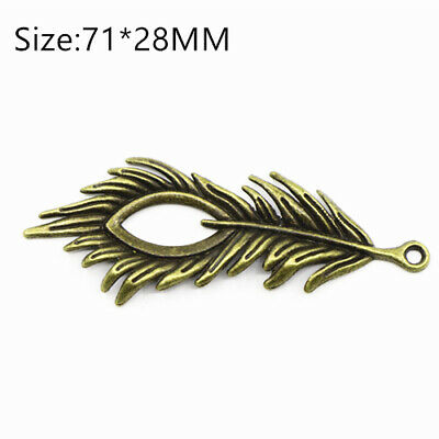2PCS Ancient Bronze Big Peacock Feather Charms Pendant Crafts DIY Necklace Beads