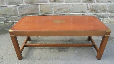 Brass Bound Mahogany Military Style Coffee Table