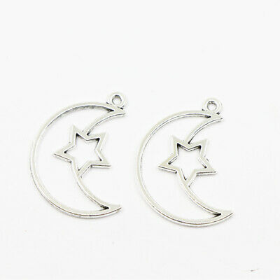 4PCS Tibetan Silver Star Moon Charms Pendants Crafts Necklace Beads DIY Jewelry