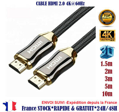 Cable hdmi 2.0 4K 60Hz ultra HD 2160p 3D Full HD HDTV HDR18GB 1 1,5 2 3 5 10 m