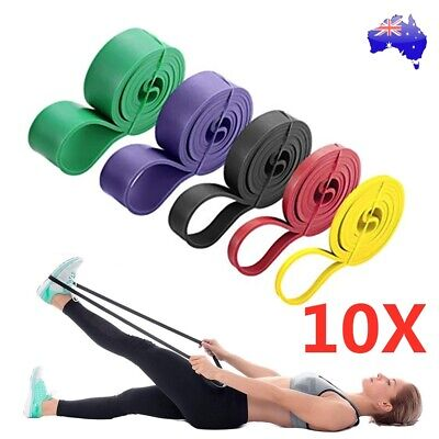 10pcs Resistance Loop Bands Mini Band Exercise Crossfit Strength Fitness GYM AU