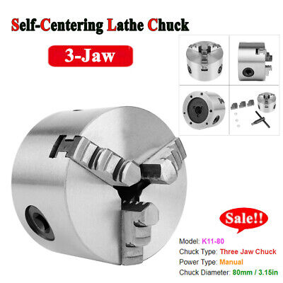 K11-80 Self-Centering 3-Jaw Lathe Chuck With Extra Jaws Machine Accessories Kit