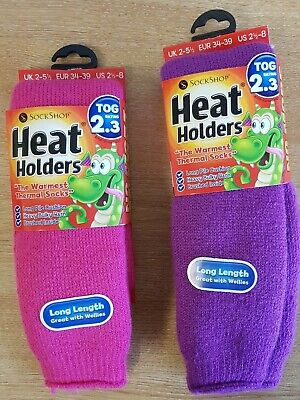 LADIES CHILDREN KIDS HEAT HOLDERS SOCKS 2.3 Tog Thermal Wellie Extra Thick 2-5.5