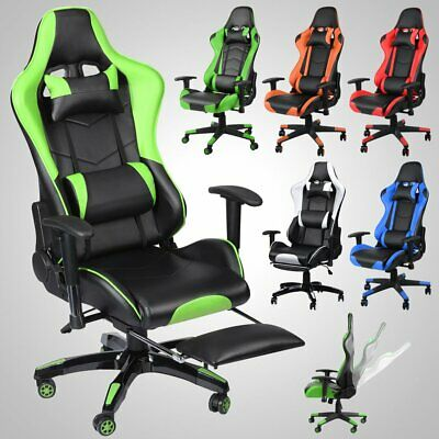 Gaming Racing Chair Office Executive Recliner Lift Adjustable Leather & Footrest