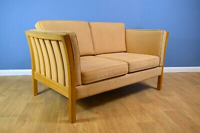 Mid Century Retro Danish Peach Alcantara Two Seater Sofa Settee Oak Frame 1970s