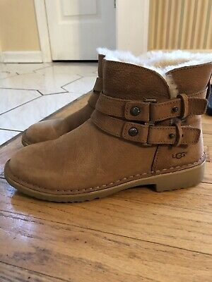 f942e52352d UGG PURE WOMEN'S Aliso Ankle Buckle Boots Size 7 Chestnut