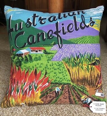 Phileas Black Melbourne Vintage Linen Handcrafted Cushion, Australian Canefields
