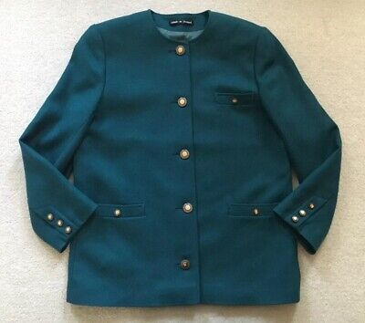 469571823e9 Avoca Collection County Wicklow Ireland Wool Blazer Teal Blue Womens Small S