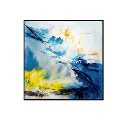 Modern Nordic Abstract Blue HandPainted Oil Painting Home Decor Art Wall Canvas