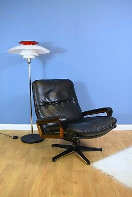 Mid Century Swiss Black Leather Reclining Armchair A. Vandebeuck for Strassle