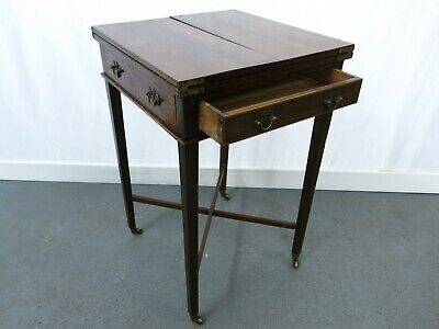 Unusual antique folding inlaid mahogany card table with 2 drawers #2262L
