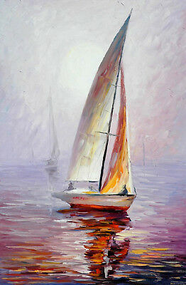 Abstract HandPainted Modern Home Decor Art Sailboat Oil Painting Wall On Canvas