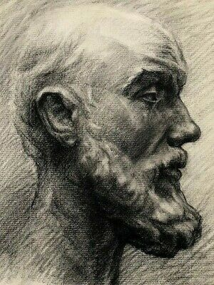 Late 19th c ACADEMIC DRAWING 'Bearded Man' - French School -  TOP QUALITY