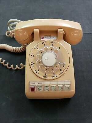 Vintage Telephone Rotary Bell System General Electric Beige dial Desk Phone MCM