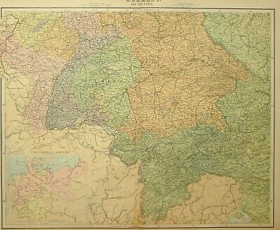 1902 Large Antique Map Germany Tyrol Wurtemberg Bavaria German Empire 1871