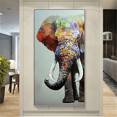 HandPainted Oil Painting Abstract Elephant Art Home Decor Canvas Porch Drawing