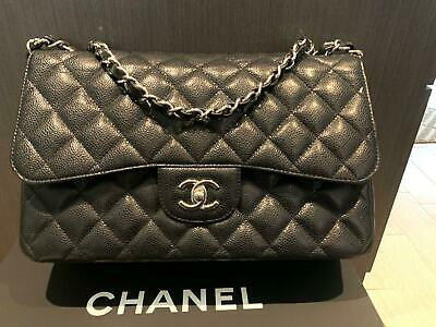 a96410b85605 AUTH CHANEL JUMBO Classic Double Flap Pink Lamb Silver HRDW Bag ...