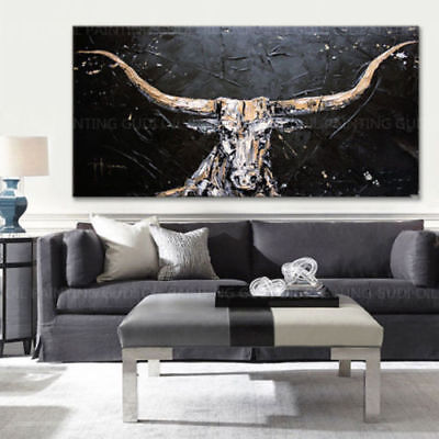 Large Modern HandPainted Abstract Oil Painting Animal Bull Home Decor Pop Art