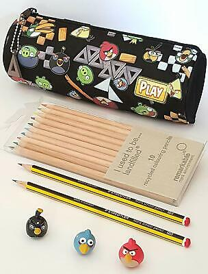 Angry birds pencil case + 3 x Angry bird toppers and Staedtler pencils
