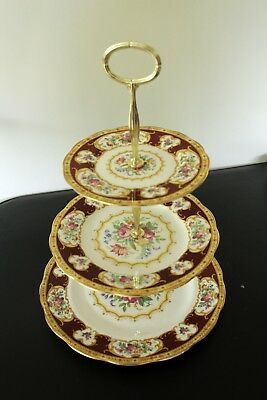 Royal Albert Lady Hamilton 3 tier afternoon tea/cake plate stand  Parkinsons UK