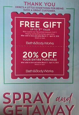 Bath & Body Works Coupons 20% off Exp.4/14/19 Valid in store & online