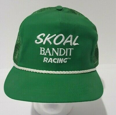 43a7ea99 Vintage Skoal Bandit Racing Green Snapback Trucker Hat Cap Adjustable