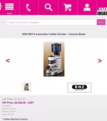 BNZ MD74 Commercial Coffee Grinder Conical Blade Cafe Restaurant DONT PAY $2390