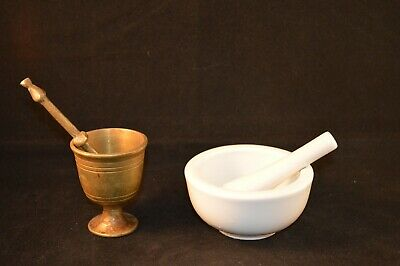 2 Antique Brass & Porcelain Mortar & Pestles Small Excellent Condition