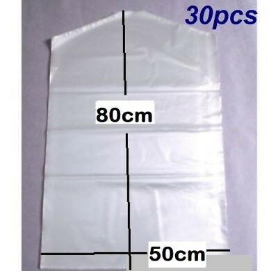 30x Garment Protection Covers Dry Cleaning Bags Clothes Storage 50cmx80cm New