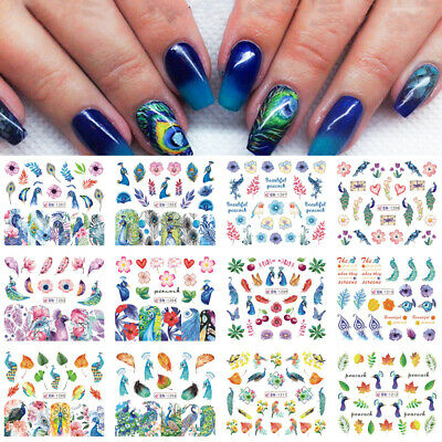 Colorful  Leaf Water Transfer Decals Nail Art Decoration Peacock Nail Sticker