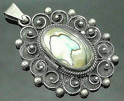 Mexico Superb Vintage Oval Abalone Ornate Sterling Silver Large Locket Pendant
