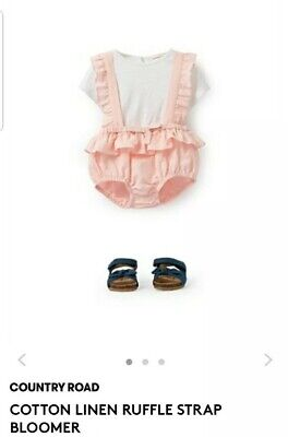 BNWT Country Road Cotton Linen Ruffle Romper- Size 12-18 Months **FREE POSTAGE