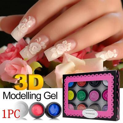3D Nail Carved Gel Sculpture Manicure Painting Soak Off UV Gel Nail Art New