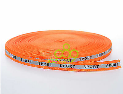 "Reflective Fabric Tape Strip Trim Sew On 'Sport'0.4""x164 ft Orange #B27G  GY"