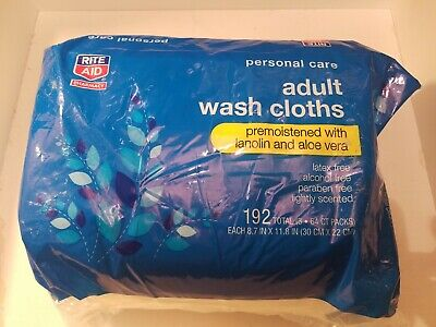 Rite Aid Adult Wash Clothes 192 3x64ct Packs 8.7inx11.8in  exp 11/18