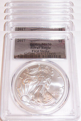Lot of 5 - 2017 $1 PCGS MS70 First Strike Silver Foil American Silver Eagles!!!