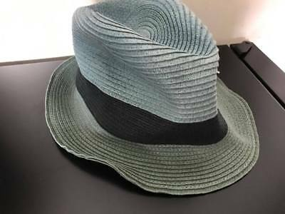 32c3d8e5 US$175 Auth PAUL SMITH Unisex gradient green blue Fedora Straw hat M Medium