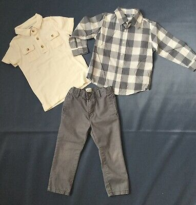 Childrens Place & baby Gap Boys 3T Outfit Lot Shirts and Gray Pants Toddler