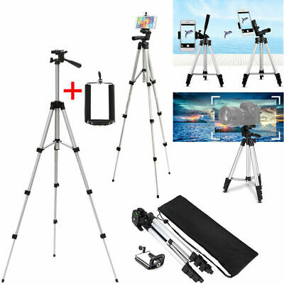 """Aluminum Alloy Tripod For Cell Phone iphone Samsung DSLR DV Camera 47"""" Silver"""