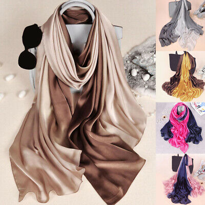Women Luxury Fashion Long Head Wraps Hijab Scarf Gradient Sunscreen Silk Shawl